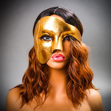 Phantom Venetian Masquerade Half Face Party Mask - Metal Gold with Model