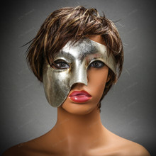Phantom Venetian Masquerade Half Face Party Mask - Metal Silver with Model