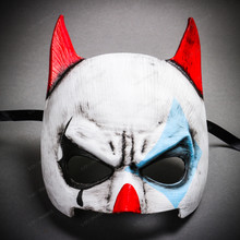 Batman Mardi Gras Mask with Joker Design Half Face Mask - White Blue