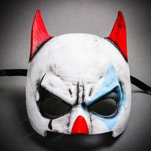 Batman Mardi Gras Mask with Joker Design Half Face Mask - White Blue