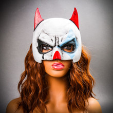 Batman Mardi Gras Mask with Joker Design Half Face Mask - White Blue with Model