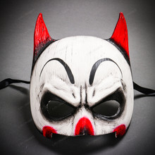 Batman Mardi Gras Mask with Joker Design Half Face Mask - White Red