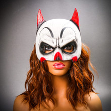 Batman Mardi Gras Mask with Joker Design Half Face Mask - White Red With Model