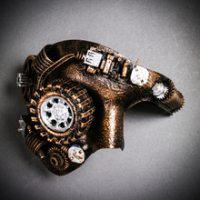 Phantom of the Opera Steampunk Mask with LED Lighting Masquerade - Black Gold