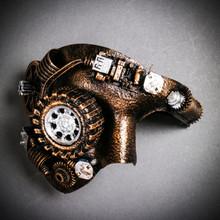 Phantom of the Opera Steampunk Mask with LED Lighting Masquerade - Black Gold