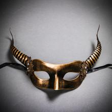 Devil Masquerade with Horns Halloween Eye Mask - Black Gold
