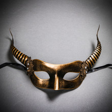 Devil Masquerade with Horns Halloween Eye Mask - Black Gold