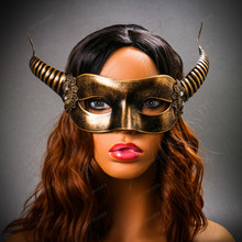 Devil Masquerade with Horns Halloween Eye Mask - Black Gold with model