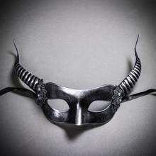 Devil Masquerade with Horns Halloween Eye Mask - Black Silver