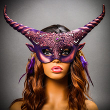 Krampus Horn Lace  Animal Devil Women Mask - Purple Gold