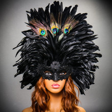 Luxury Traditional Venice Women Carnival Masquerade Venetian Mask with Top Feather - Black (Female Model)