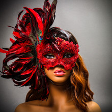 Luxury Traditional Venice Women Carnival Masquerade Venetian Mask - Red (Female Model)