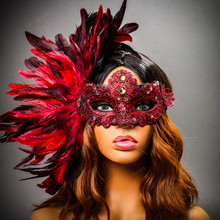 Luxury Venice Women Carnival Masquerade Venetian Mask with side Feather - Red (Female Model)