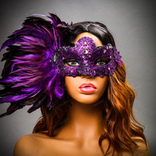 Luxury Venice Women Carnival Masquerade Venetian Mask with side Feather - Purple (Female Model)
