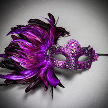 Luxury Venice Women Carnival Masquerade Venetian Mask with side Feather - Purple