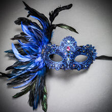 Luxury Venice Women Carnival Masquerade Venetian Mask with side Feather - Blue