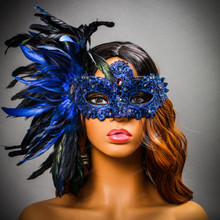Luxury Venice Women Carnival Masquerade Venetian Mask with side Feather - Blue (Female Model)