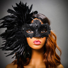 Luxury Venice Women Carnival Masquerade Venetian Mask with side Feather - Black (Female Model)