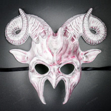 Krampus Ram Demon with Horns Devil Halloween Mask - White Red (Front View)