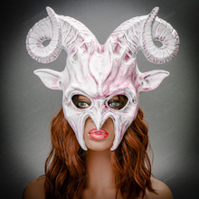 Krampus Ram Demon with Horns Devil Halloween Mask - White Red (Female Model)