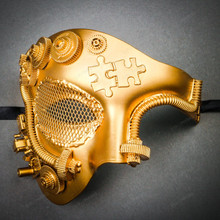 Phantom of Opera Steampunk Masquerade Half Face Mask - Metallic Gold (Front)