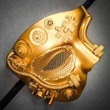 Phantom of Opera Steampunk Masquerade Half Face Mask - Metallic Gold
