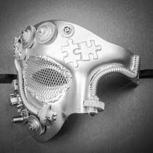 Phantom of Opera Steampunk Masquerade Half Face Mask - Metallic Silver (Front)