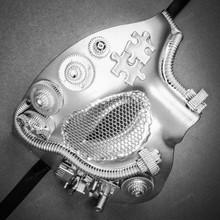 Phantom of Opera Steampunk Masquerade Half Face Mask - Metallic Silver