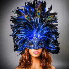 Luxury Traditional Venice Women Carnival Masquerade Venetian Mask with Round Top Feather - Blue  with Female Model