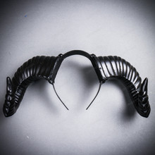 Gothic Demon Large Horn Headband - Black
