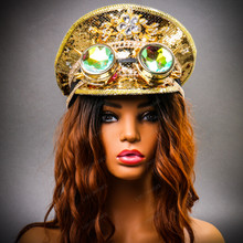 Steampunk Burning Man Festival Captain Hat Party Costume 3D Rhinestones Top Hat with Female Model