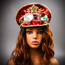 Steampunk Burning Man Festival Captain Hat Party Costume 3D Rhinestones Top Hat - Red Gold with Female Model