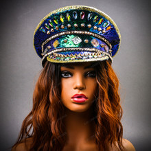 Steampunk Burning Man Festival Captain Hat Party Costume 3D Rhinestones Top Hat - Blue Gold with Female Model