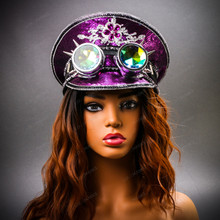 Steampunk Burning Man Festival Captain Hat Party Costume 3D Rhinestones Top Hat - Purple Silver with Female Model
