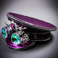 Steampunk Burning Man Festival Captain Hat Party Costume 3D Rhinestones Top Hat - Purple Silver