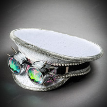 Steampunk Burning Man Captain Hat with Kaleidoscope 3D Goggles - White Silver