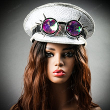 Steampunk Burning Man Captain Hat with Kaleidoscope 3D Goggles - White Silver with model