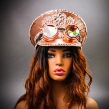Steampunk Burning Man Festival Captain Hat Party Costume 3D Rhinestones Top Hat - Pink Silver with Female Model