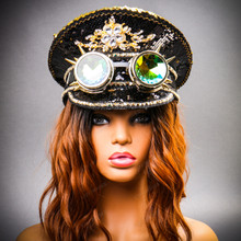 Steampunk Burning Man Festival Captain Hat Party Costume 3D Rhinestones Top Hat - Black Gold  with Female Model
