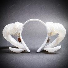 Gothic Demon Large Horn Headband with LED Light - White