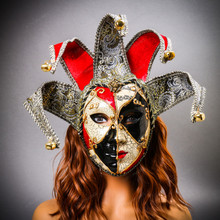 Jester Joker Venetian Masquerade Full Face Mask with Bells - Red Black with Female Model