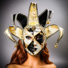 Jester Joker Venetian Masquerade Full Face Mask with Bells - Black White with Female Model
