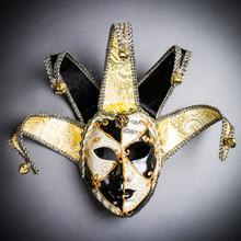 Jester Joker Venetian Masquerade Full Face Mask with Bells - Black White
