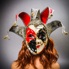Medieval Jester Musical Joker Venetian Masquerade Full Face Mask with Bells - Red Black with female model