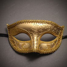 Venetian Classic Eye Mask with Glitter Gold & Pegasus Horses Emperor Black Gold Couple Masks