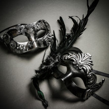 Steampunk Roman Classic Silver & Roman Ancient with Side Feather Black Silver Couple Masks