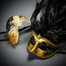 Phantom Full Face Musical Black Gold & Venetian Gold Mardi Gras Black Tall Feather Couple Masks