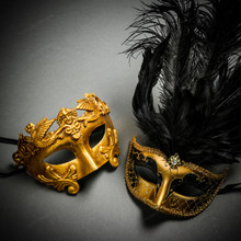 Roman Warrior Metallic Gold & Venetian Gold Mardi Gras Black Tall Feather Couple Masks
