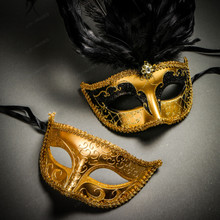 Venetian Classic Eye Mask with Glitter Gold & Venetian Gold Mardi Gras Black Tall Feather Couple Masks