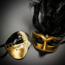 Phantom Half Face Musical Black Gold & Venetian Gold Mardi Gras Black Tall Feather Couple Masks